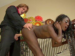 Dazzling ebony Monica Ree in interracial act with her mum's man.