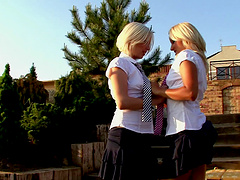 Blonde on blonde picture with two lovely women using a dildo
