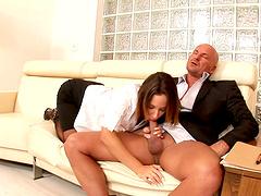 Jada Stevens alluring office secretary seduced her boss before she got fucked