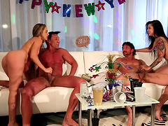 New Year's eve with a couple of horny sluts who like group sex