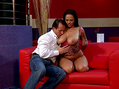 Big boobed cougar gives a blowjob and has her shaved cunt fucked