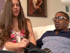 White brunette girl is addicted to fucking big black cocks