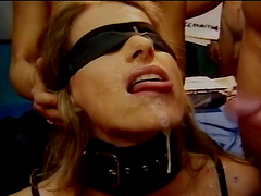 Horny lesbian babes toying ahead of a facial in a group sex orgy
