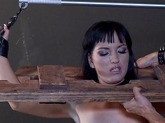 Horny doll prefers being tied up during rough throbbing of her organs
