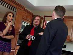 A handsome looking guy was seduced by boss's wife and he gave her doggystyle fuck