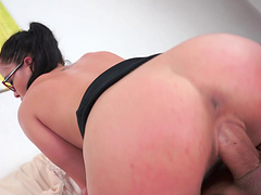 Dolly gives a steamy blow job pending an angry cock in her pussy in pov
