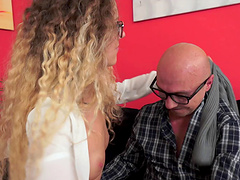 Monique deep throats a monster cock before getting her pussy rammed in pov
