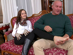 Tina Kay rides on a lengthy cock then swallows cum from the very same tool