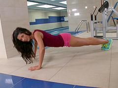 Alexa Tomas being drilled hard by her instructor at the gym