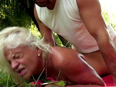 Green grass and thick cock are all Anett needs for the pleasure