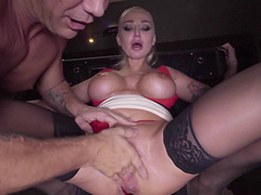 Big boobs damsel gets her her anal roughly banged with a giant throbber