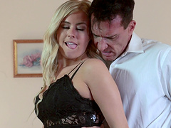 Long haired blonde milks hubby dry with a mesmerizing blowjob