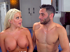 Big boobs blonde breaths long and heavily after a daring encounter with a cocky pornstar