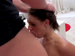 Brunette screams loud with a giant cock soaking in her cooter viciously