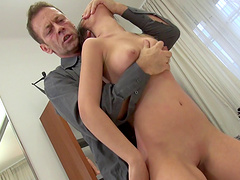 Anina is quite happy to go wild and ride the famous guy's stiff cock