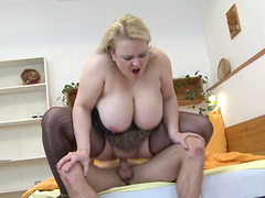 Chubby blonde can't wait to get pounded by his pulsating boner