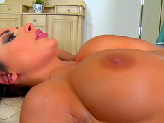 Smoking hot babe with big boobs gets to ride on a fat shaft