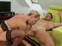Saucy blonde has her tight cunt and her gaping asshole hammered