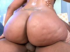 Raunchy ebony BBW enjoys sucking and riding on a monster black rod