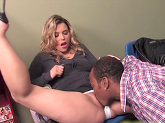 Saucy blonde vixen pleasures two monster black meat poles