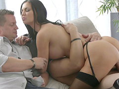 Attractive raven-haired bombshell with massive bobs gets nailed