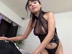 Erotic Asian bimbo soaks her fingers in the profusely wet pussy as she delivers a superb blowjob