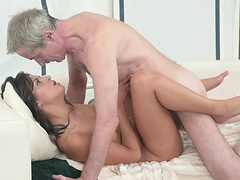 Old man licks brunette's cunt dry then drives his massive shaft in their rough