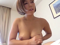 Prettiest brunette from the Far East knows how to give a proper titjob