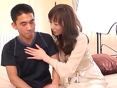 Skillful Japanese bimbo plays with the dick of her new buddy