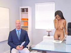 Nerdy ebony babe taking the white pecker up her shaved slit
