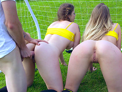 Group of amazing soccer babes sharing the big dong of their buddy