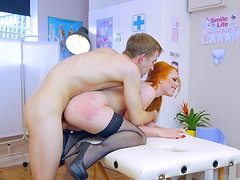 Beautiful redhead doctor just had to go crazy over that big dick!