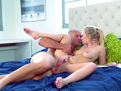 Perfect babe with a pink pussy moans during the hard bonking