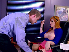 Sexy office worker with the red hair and her lust for the sticky load