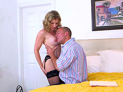 Elegant babe lets the guy with a big cock explore her inner depths