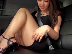 Nana is quite pleased to play with her beautiful pussy in the car
