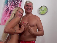 This blonde has a cock-hungry twat and Dan is quite happy to help