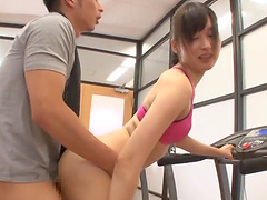 Luscious Asian babe getting nailed right there in the local gym