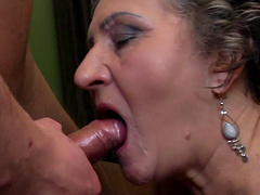 Horny granny goes completely crazy over the stiff college cock