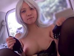 One of the rare Japanese blondes masturbates on the back seat