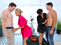 Veronica Avluv and Alexis Fawx get frisky with a couple of hunks