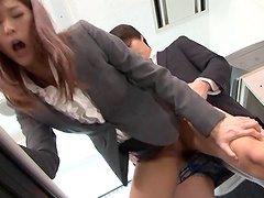 Aya Kisaki gets her pussy filled with a hard penis in the office