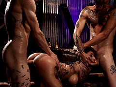 Lily Lane ravished by a couple of bad boys with massive love tools