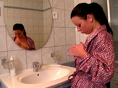 After she takes a shower Klaudia Hot masturbates in the bathroom