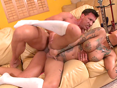 Tattooed and nasty Bonnie Rotten gets her pussy fucked wildly