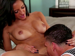 After many poses hot  girl Chloe Amour wants to reach orgasm with a dude