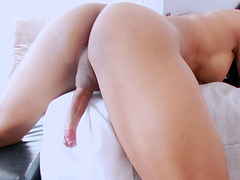 Hot shemale Seang loves playing with her erected cock