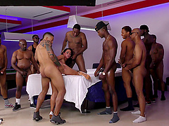 All of these horny dudes are here to give Amara their erections!
