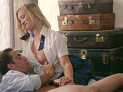 The best-looking schoolgirl on the planet rides the hard cock