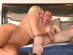 Busty blonde Karen Fisher enjoys each second of the hard shagging